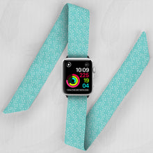 Load image into Gallery viewer, Light Blue Floral Hand Made Apple Watch Scarf Band