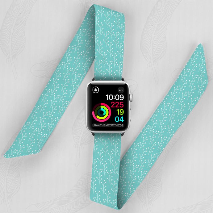 Light Blue Floral Hand Made Apple Watch Scarf Band
