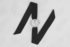 Black Dotted Pattern Classical Woman's Analog Scarf Watch