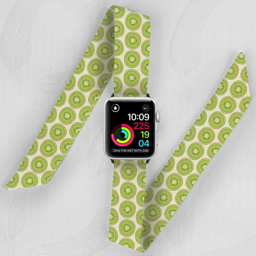 apple watch band with green kiwi pattern
