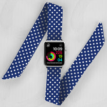 Load image into Gallery viewer, Navy & White Polka Dot Hand Made Apple Watch Scarf Band