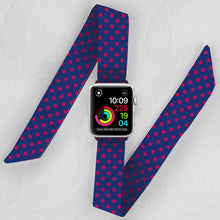 Load image into Gallery viewer, Navy & Pink Polka Dot Hand Made Apple Watch Scarf Band