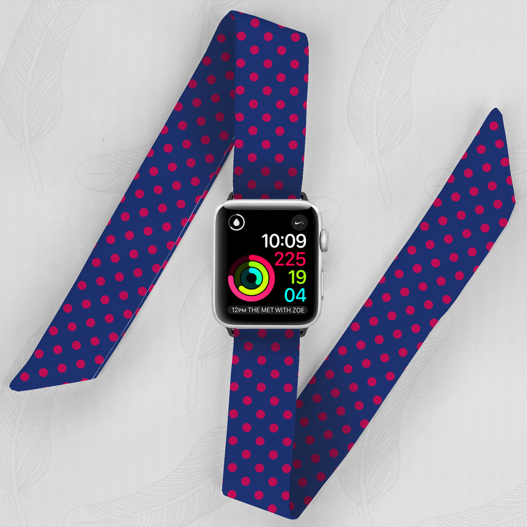 Navy & Pink Polka Dot Hand Made Apple Watch Scarf Band