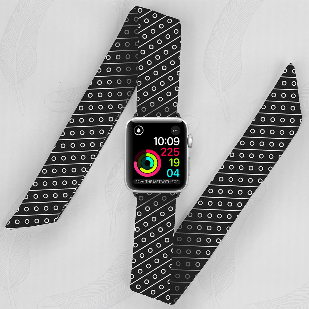 Striped Dots Pattern Hand Made Apple Watch Scarf Band