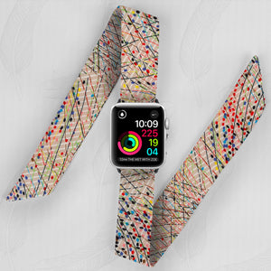 Colorful Abstract Pattern Hand Made Apple Watch Scarf Band