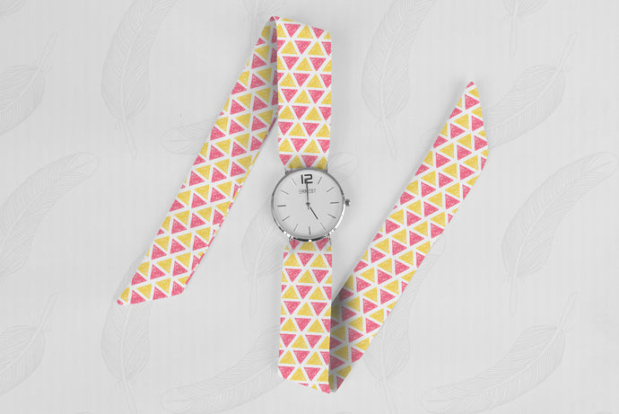 Aztec triangle Pattern Classical Woman's Analog Scarf Watch