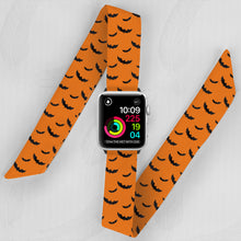 Load image into Gallery viewer, Halloween Hand Made Apple Watch Scarf Band With Bats