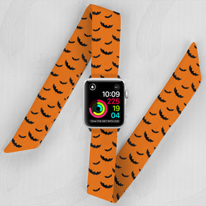 Halloween Hand Made Apple Watch Scarf Band With Bats