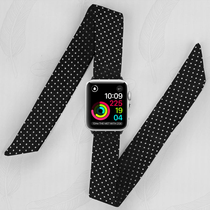 Dotted Pattern Hand Made Apple Watch Scarf Band