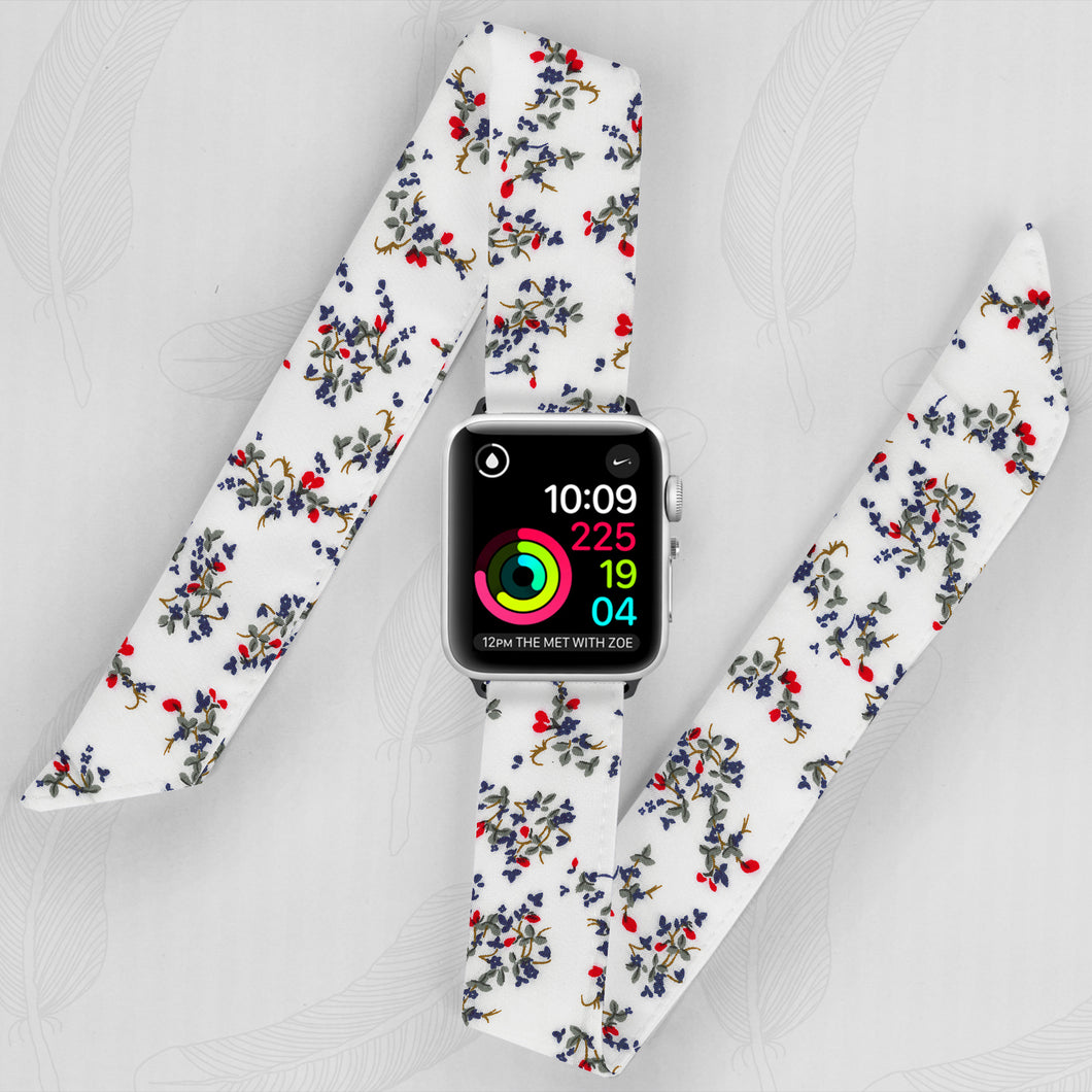 Petit Fleur Floral Pattern Hand Made Apple Watch Scarf Band