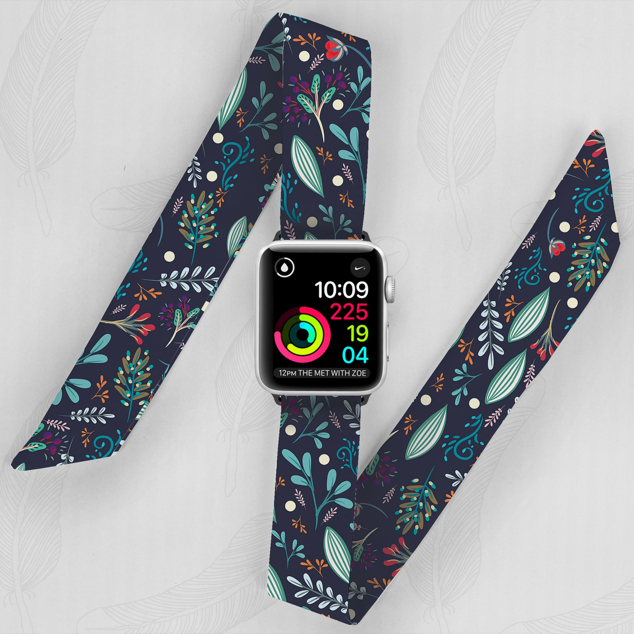 Green Floral Pattern Hand Made Apple Watch Scarf Band