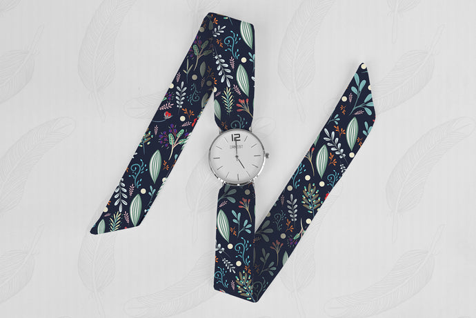 Green Floral Pattern Classical Woman's Analog Scarf Watch