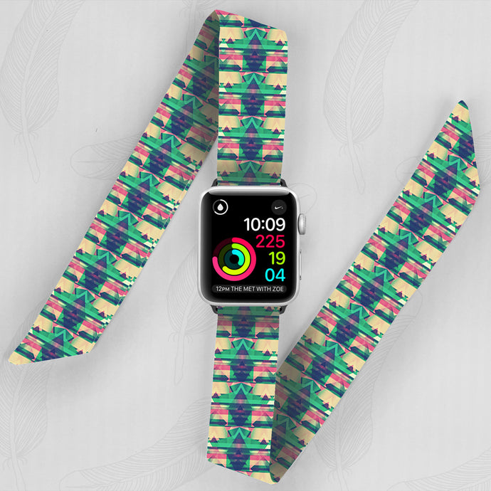 Green Abyss Hand Made Apple Watch Scarf Band