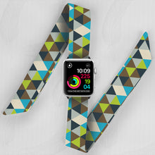 Load image into Gallery viewer, Green Triangles Hand Made Apple Watch Scarf Band