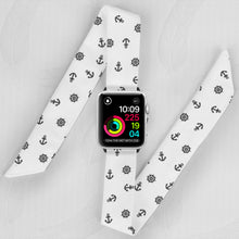 Load image into Gallery viewer, Marineros Naval Pattern Hand Made Apple Watch Scarf Band