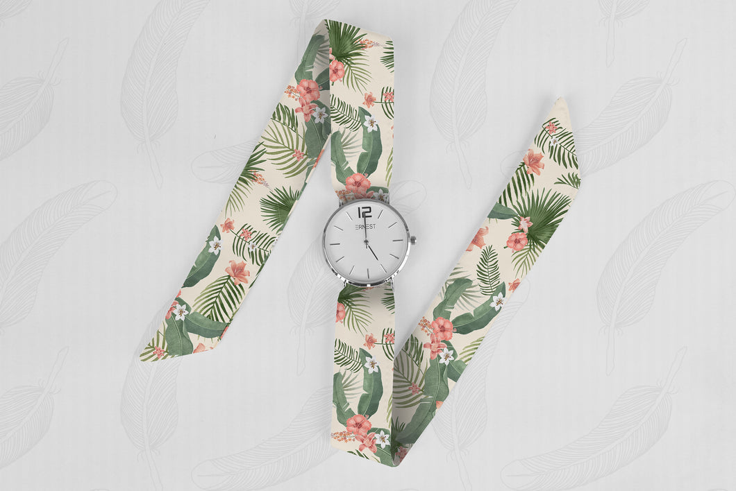 Pink Palm Classical Woman's Analog Scarf Watch