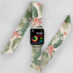 Pink Palm Hand Made Apple Watch Scarf Band