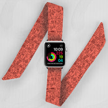 Load image into Gallery viewer, Red Robot Hand Made Apple Watch Scarf Band