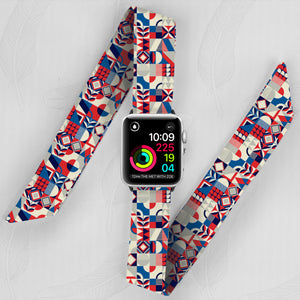 Red Tiles Hand Made Apple Watch Scarf Band