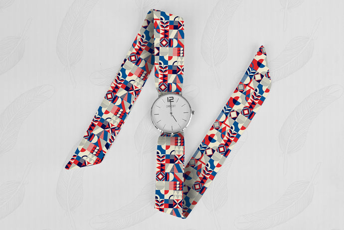 Red Tiles Classical Woman's Analog Scarf Watch