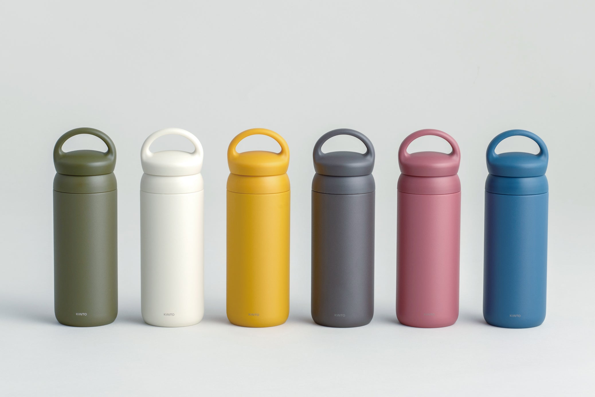 DAY OFF tumbler collection in mustard, white, navy, gray, rose, and khaki