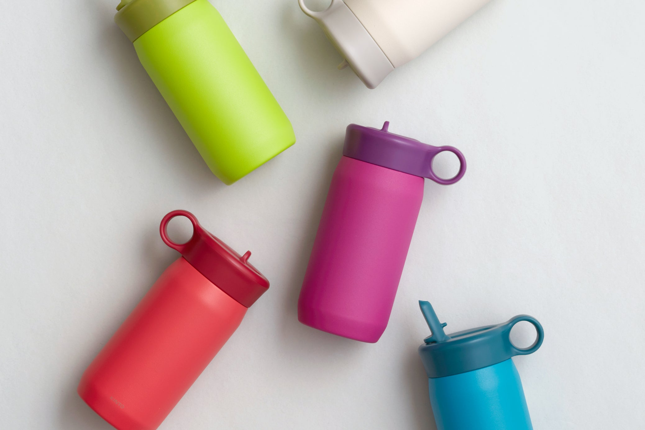 PLAY tumbler collection in red, lime green, purple, turquoise