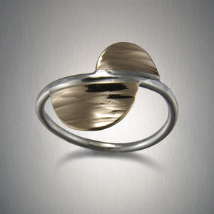 1160CO - Offset Semicircle Ring - Mixed Metal