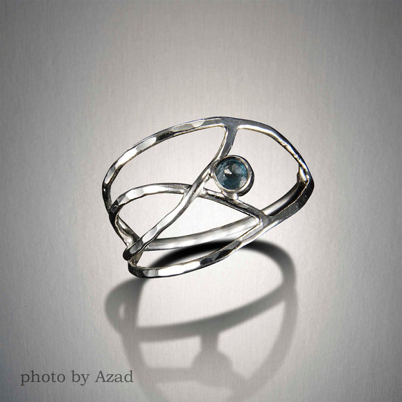 1364+ Caught in a Net Ring  - Sterling Silver