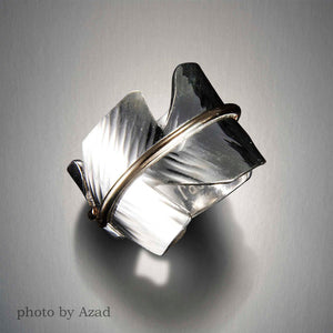 1915LCO - Large Feather Ring - Mixed Metal