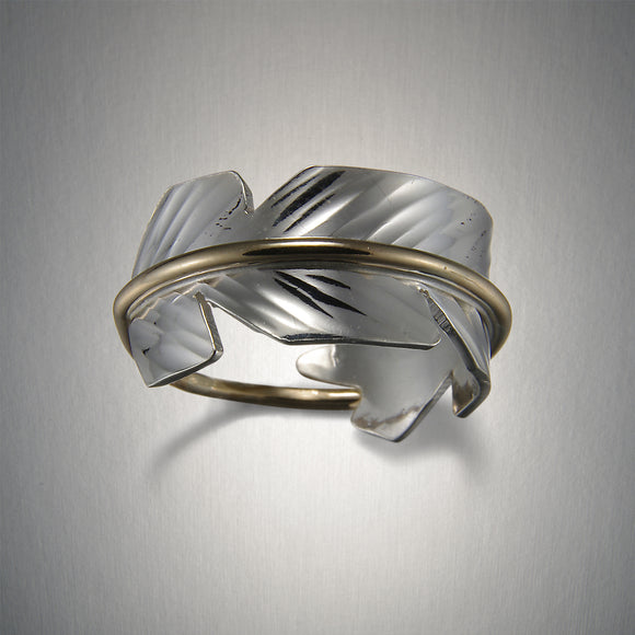 1915SCO - Feather Ring Small - Mixed Metal