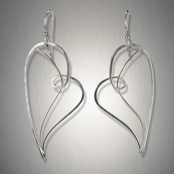 2028CO - Shot Through the Heart earring - Mixed Metal