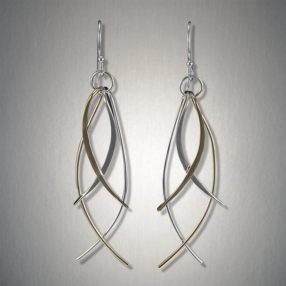 2031CO - Dangling Fish earring - Mixed Metal