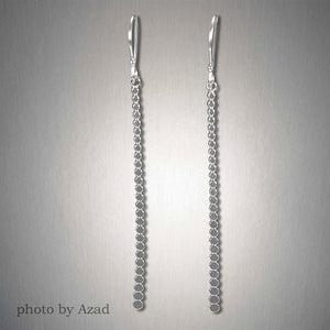 2072L - Dangling Bar of Dots - Sterling Silver