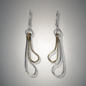 2077SCO - Dangling Curved Tear Drops - Mixed Metal