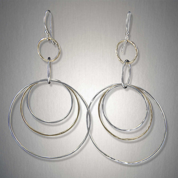 2220CO - Dangling Triple Circles - Mixed Metal