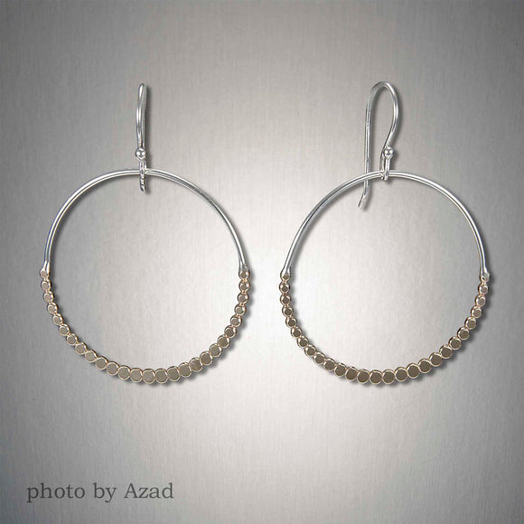 2993CO - Dangling Dipped Circle Dots - Mixed Metal