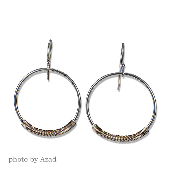 2998CO - Dangling Wrapped Hoops - Mixed Metal
