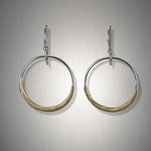 2999SCO - Bottom Heavy Dangling Hoops - Mixed Metal