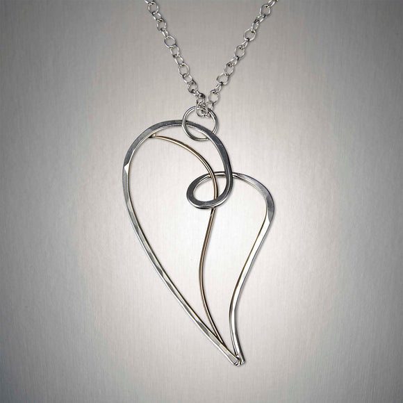 4028CO - Heart Pendant - Mixed Metal