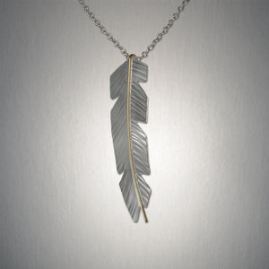4915LCO - Large Feather Pendant - Mixed Metal