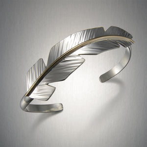 8015CO - Feather Cuff - Mixed Metal