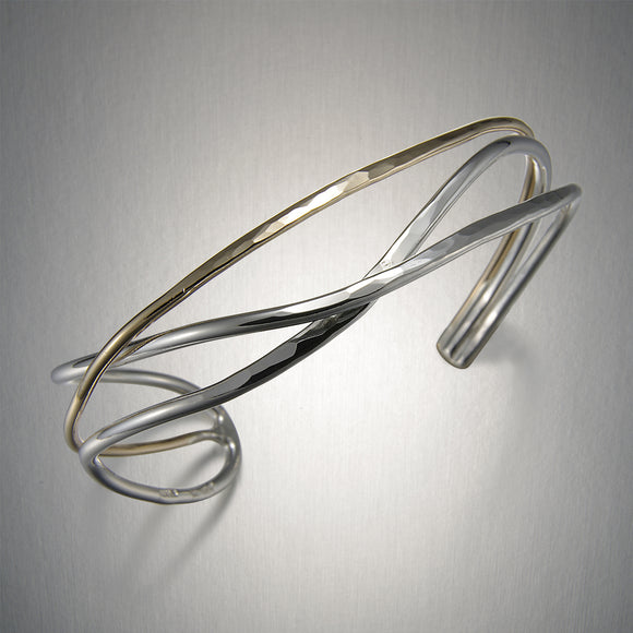 C119CO - Mixed Metal Crossed Lines Cuff