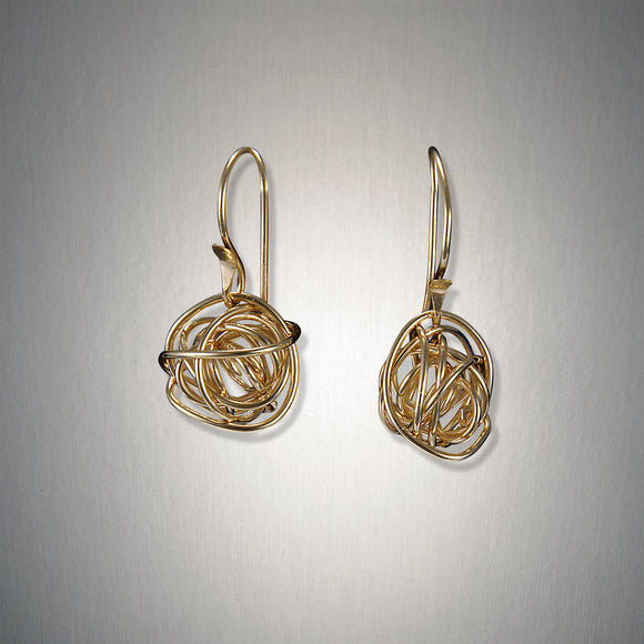 E901M - French Wire - Dangling Tangled Web Medium - 14kt Gold Fill