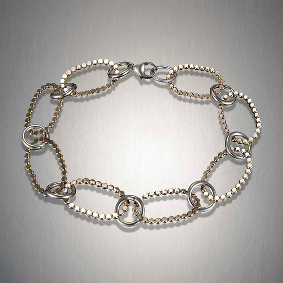 H61CO - Mixed Metal Dotted Link Bracelet