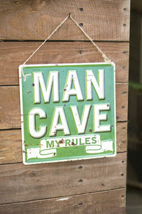 "La Hacienda ""Man Cave My Rules"" Wall Sign Man Cave Kitchen Sign"