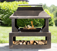 Load image into Gallery viewer, LA HACIENDA STONEHURST BRONZE GARDEN FIRE PIT BASKET WITH LOG STORE