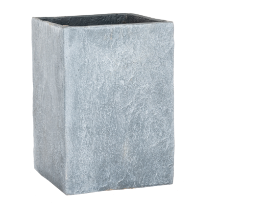 RUSTIC GARDEN GREY SLATE EFFECT TALL SQUARE PLANT POT