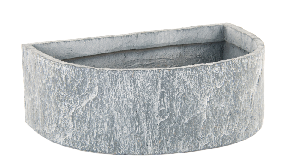 RUSTIC GARDEN GREY SLATE EFFECT ALPINE D-SHAPED PLANT POTS
