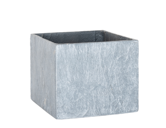 RUSTIC GARDEN GREY SLATE EFFECT SQUARE PLANT POT