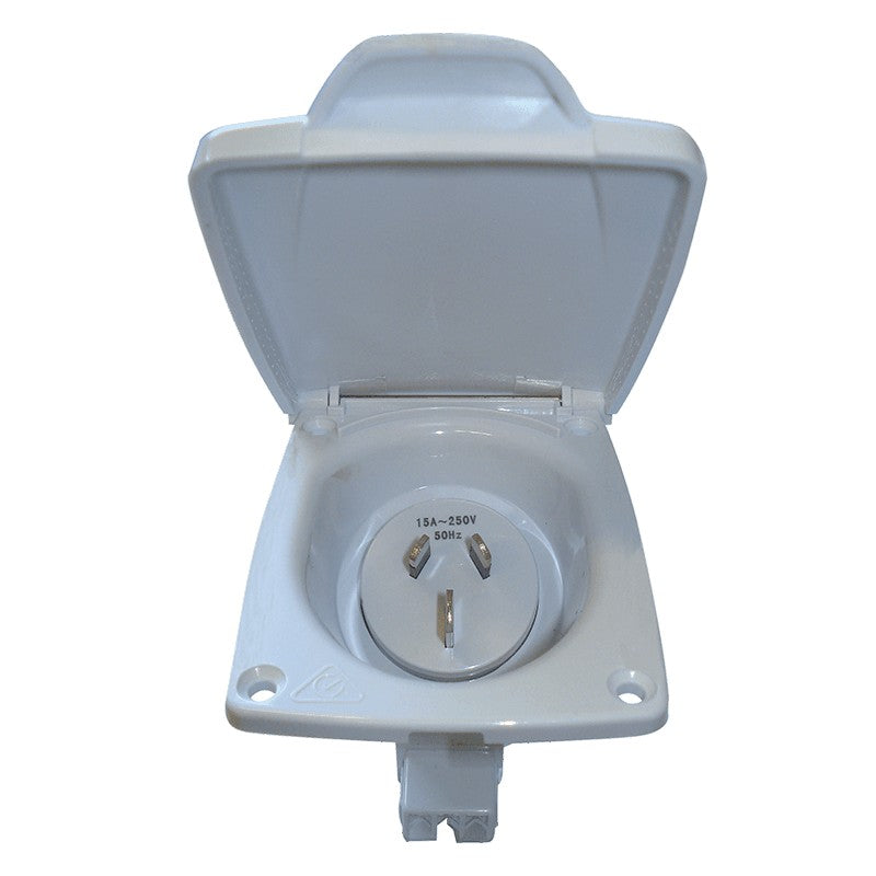 CMS 15AMP PLUG POWER INLET WHITE for Caravan 240 electrics CMS